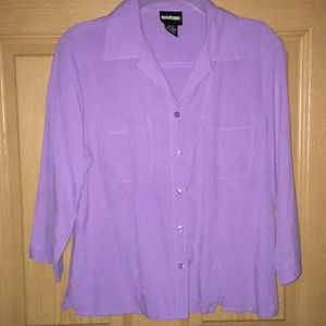 Soft n silky purple blouse size small 3/4 sleeves